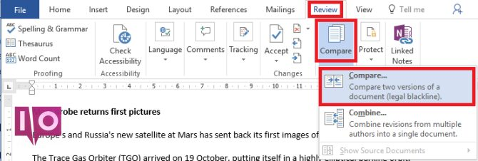Microsoft Word comparer les documents comparer
