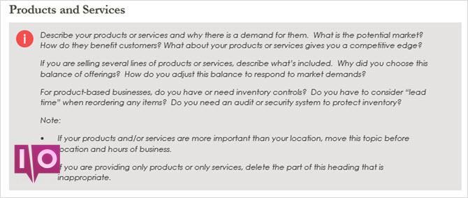 services de produits de plan d'affaires