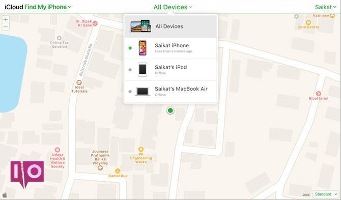 Connectez-vous à l'écran iCloud Find My iPhone