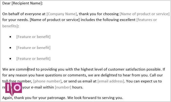 Modèle Word de lettre de remerciement client