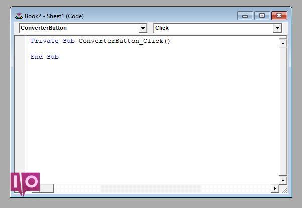 Fenêtre de codage Excel