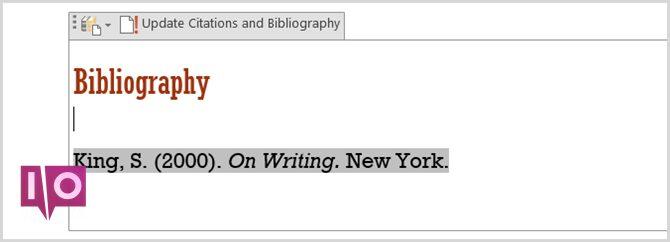 Tableau de bibliographie Word