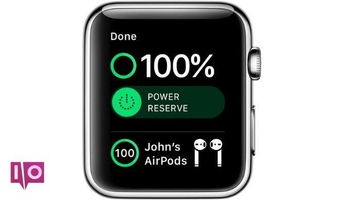 Centre de contrôle Apple Watch montrant la batterie des AirPods