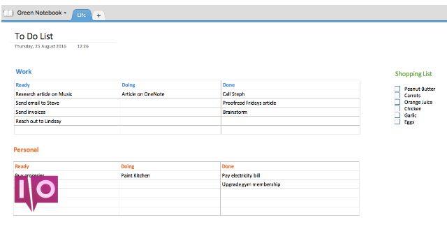 Liste des tâches Onenote Exemple de capture d'écran