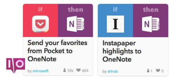 Exemples d'intégrations OneNote avec IFTTT