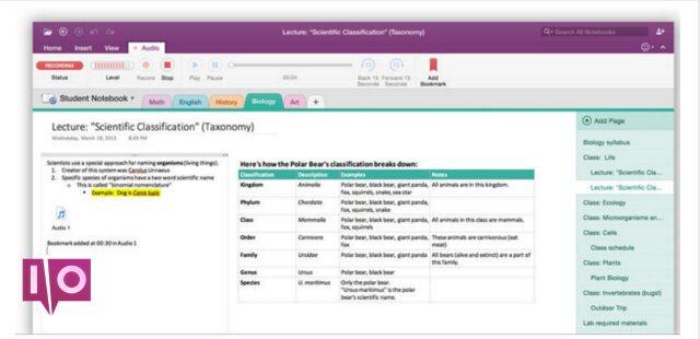 Exemple de capture d'écran de base de OneNote Overview