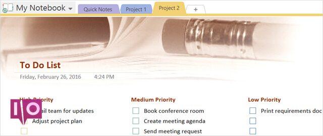 Modèle de liste de tâches OneNote Priority ToDo