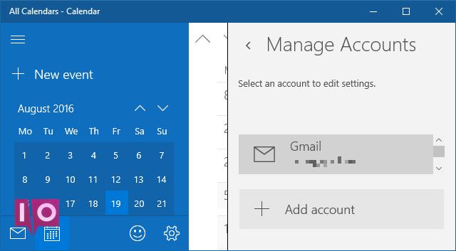 Paramètres de l'application Calendrier Windows