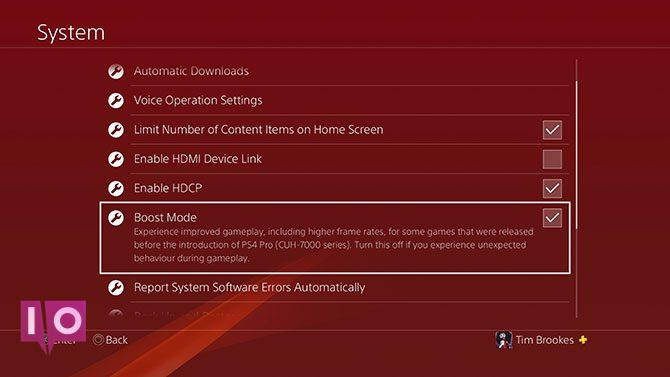 Mode Boost PS4 Pro