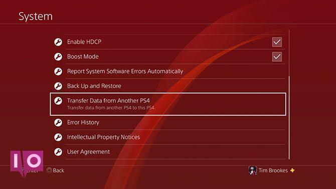 Transfert de données PS4 dans le menu système