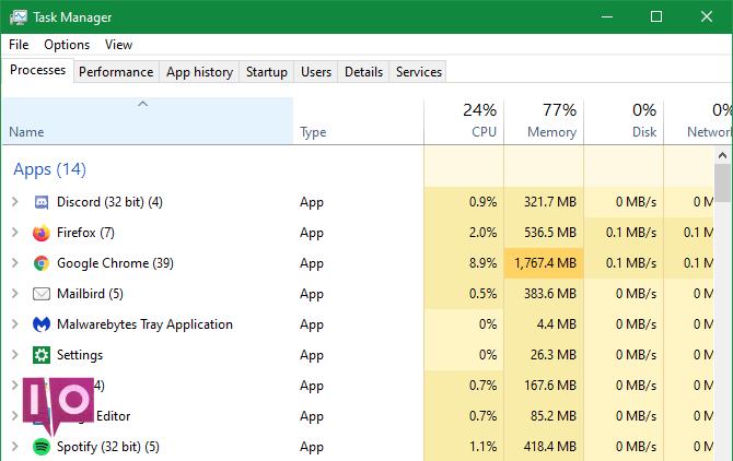 Gestionnaire de tâches des applications 32 bits