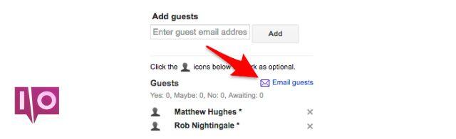 Envoyer un e-mail aux invités Google Agenda