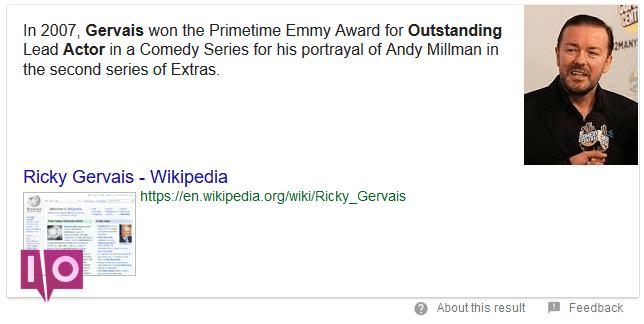 Résultat de recherche Google sur Ricky Gervais