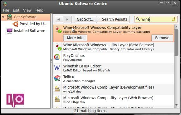 L'installation de Wine vous permet d'exécuter le logiciel Windows sous Linux