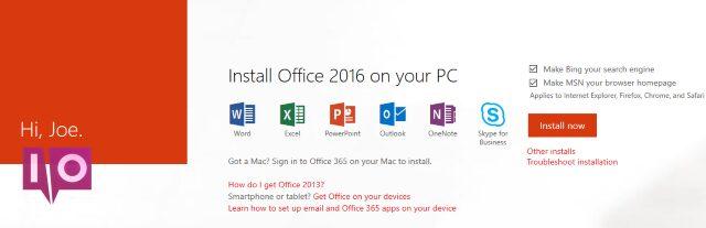 installation de l'abonnement Office 365