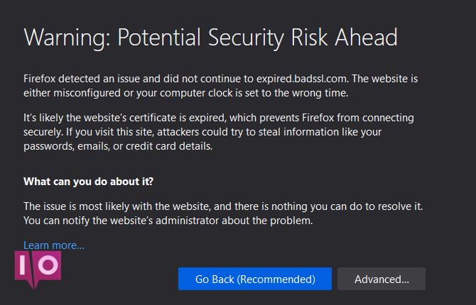 Erreur de certificat Firefox