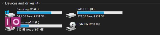 Espace libre sur Windows Drive