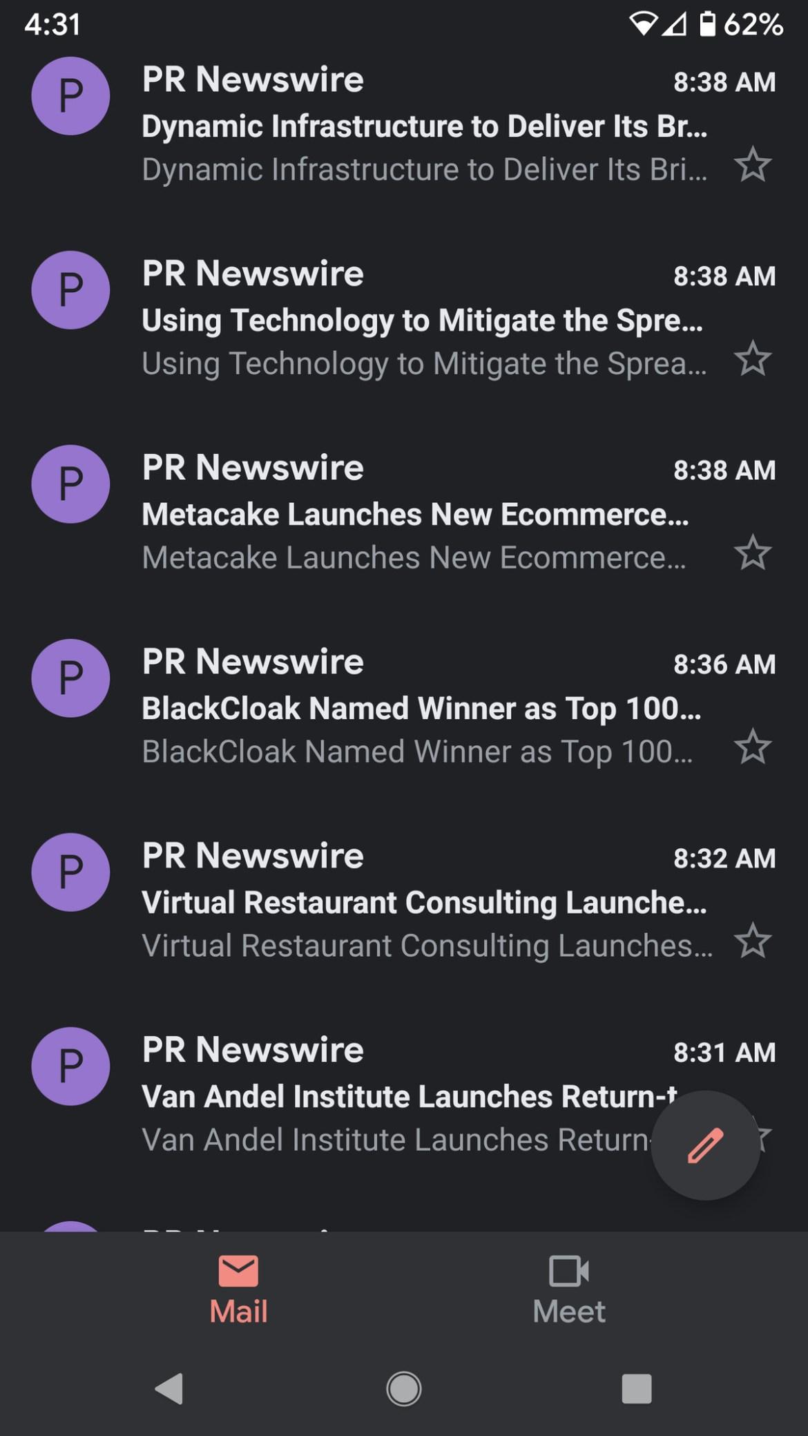 Gmail avec les nouveaux onglets en bas de l'écran.