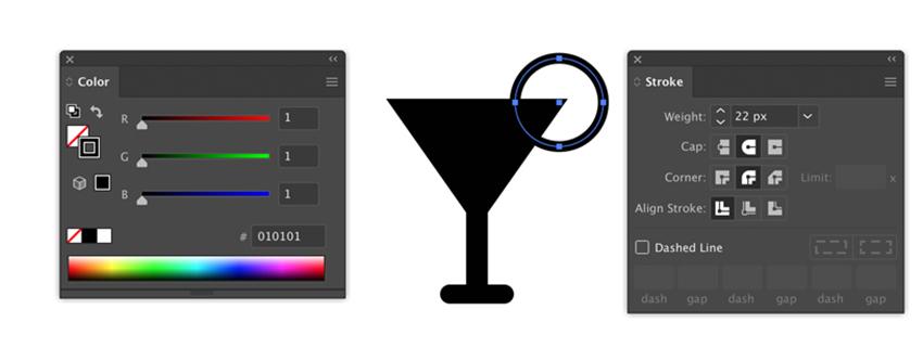 Paramètres de contour et de couleur dans Adobe Illustrator