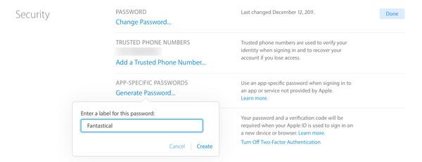 générer un mot de passe spécifique à l'application