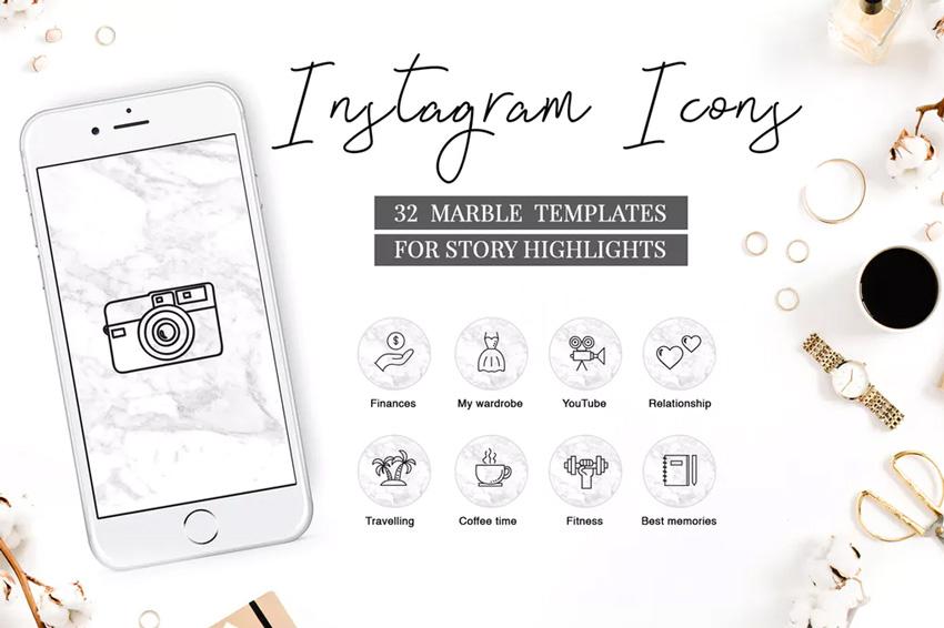 Voyage d'icônes de mise en évidence Instagram