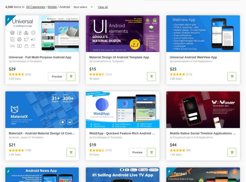 Meilleures ventes de modèles d'application mobile CodeCanyon