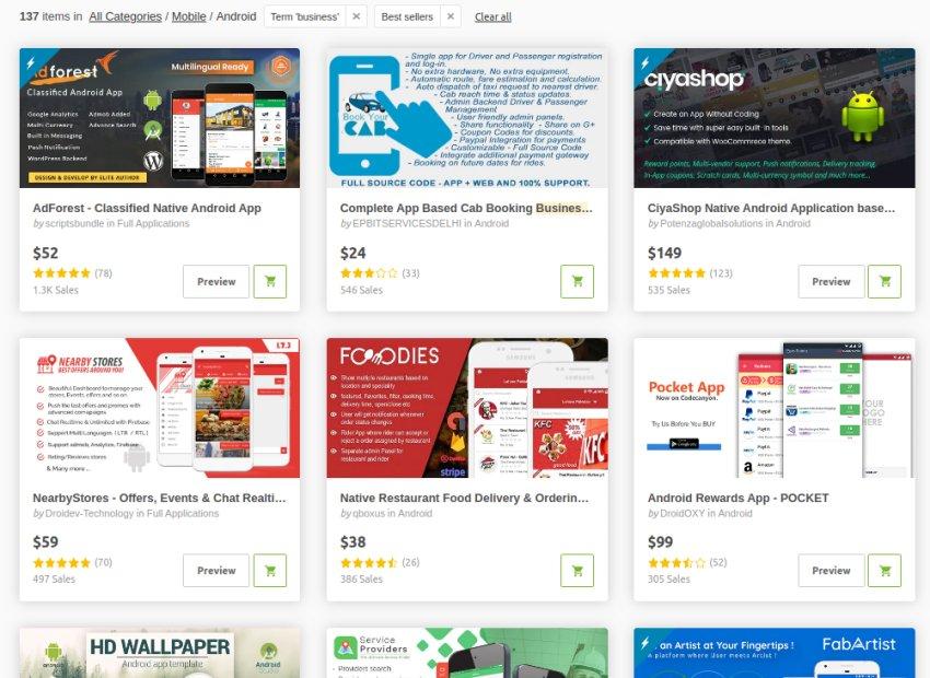 Modèles d'applications professionnelles Android sur CodeCanyon