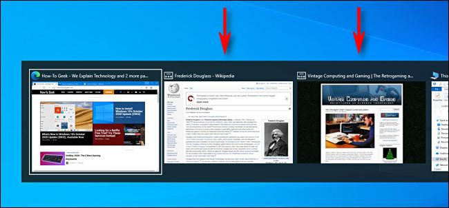 Un exemple d'onglets du navigateur Microsoft Edge affichés dans le sélecteur de tâches Alt + Tab