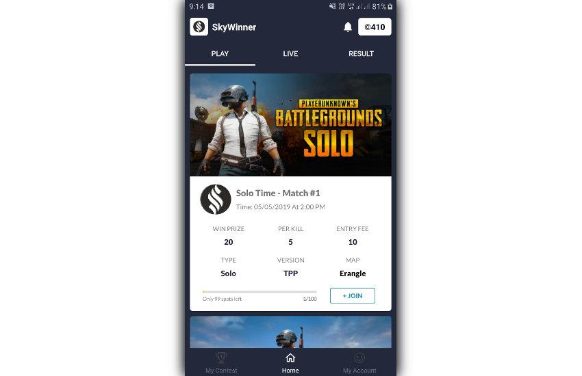 Exemple d'écran du tournoi SkyWinner PUBG