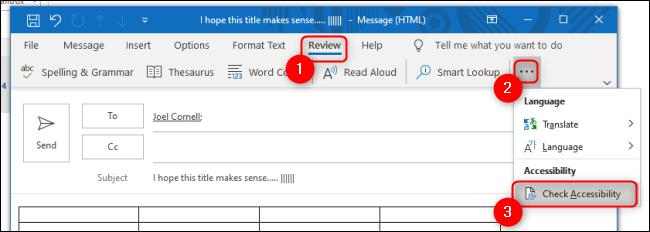 Vérificateur d'accessibilité Outlook sous l'onglet Révision