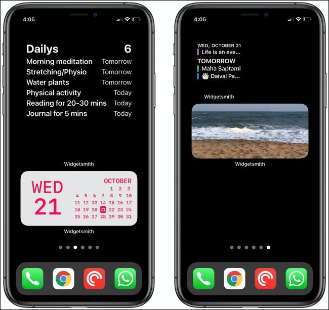Deux widgets Widgetsmith sur deux iPhones.