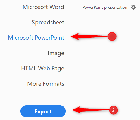 Exporter sous Microsoft PowerPoint