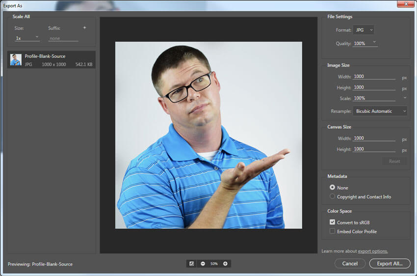 Enregistrez les fichiers au format jpgs