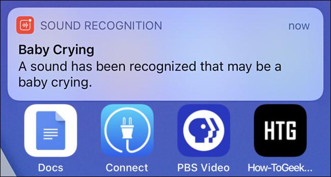 Une notification d'alerte de reconnaissance sonore sur iPhone pour un bébé qui pleure.