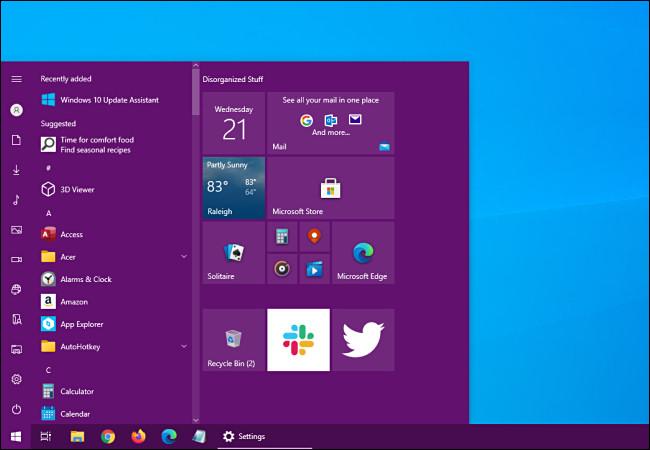 Un menu Démarrer de Windows 10 avec une couleur d'accent ajoutée.