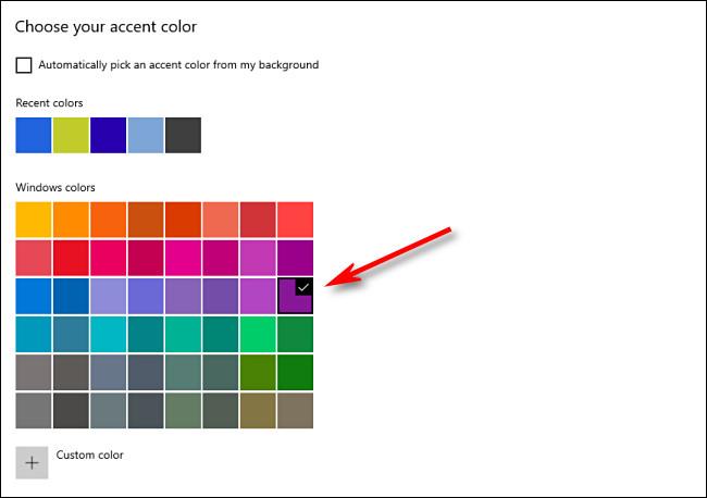 Dans Paramètres de la fenêtre, choisissez votre couleur d'accentuation dans la grille.