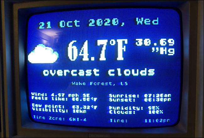 Der Weather.xex-Statusbildschirm eines Atari 800XL.
