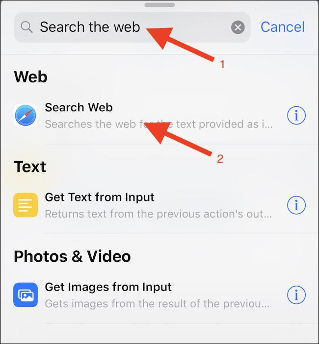 Recherchez une action «Rechercher sur le Web» et appuyez dessus.