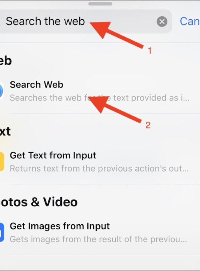 """Recherchez une action """"Texte"""" et appuyez dessus.  Entrez """"site:"""", puis appuyez sur le bouton de la variable magique"""