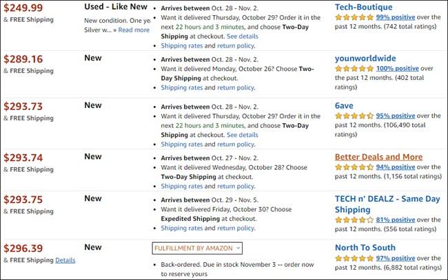 Listes Amazon pour un produit d'occasion.