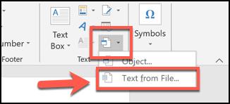 Cliquez sur la flèche en regard du bouton Objet, puis choisissez Insérer à partir d'un fichier