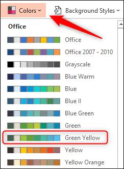 Sélectionnez le jeu de couleurs vert jaune