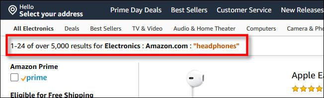 """Les critères de recherche incluront """"Amazon.com"""""""