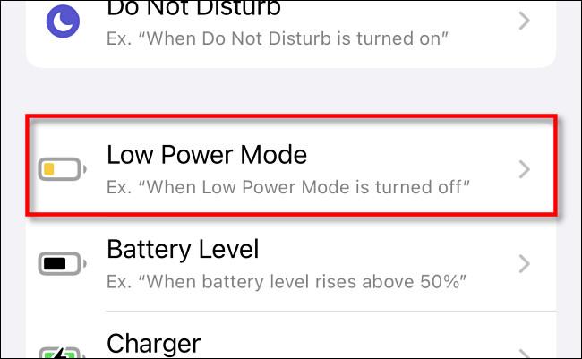 Tippen Sie in Apple iPhone-Verknüpfungen in der Liste der Automatisierungen auf