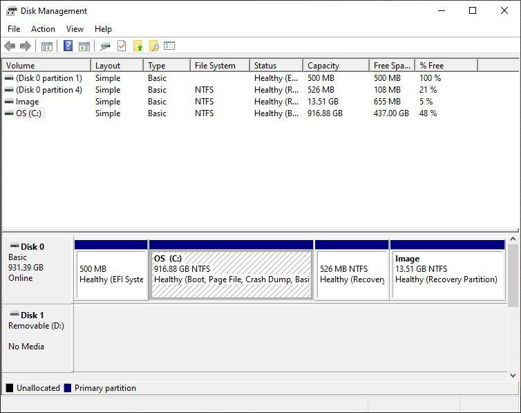Utilisez le gestionnaire de disques Windows pour vous assurer que vous disposez d'au moins 15 Go (plus c'est mieux) pour votre partition Linux.