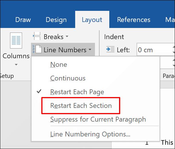 Pour ajouter des numéros de ligne à un document Word, séparés par section, cliquez sur Disposition data-recalc-dims=