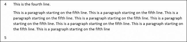Un exemple de numéros de ligne sans paragraphe dans Word