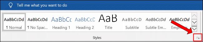 Cliquez sur le bouton de menu Styles supplémentaire dans la section Accueil data-recalc-dims=
