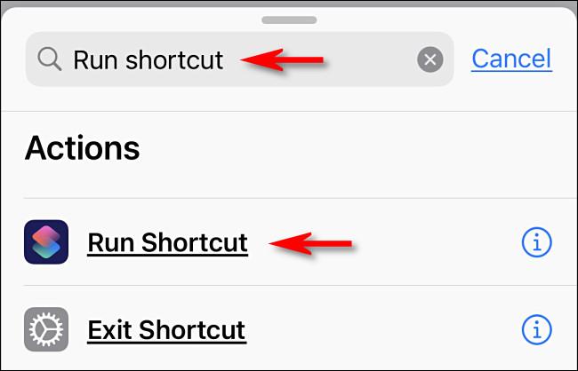 """Tapez """"Exécuter le raccourci"""" dans la zone de recherche, puis appuyez sur """"Exécuter le raccourci""""."""