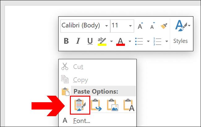 Pour coller dans Word, appuyez sur Ctrl + V ou cliquez avec le bouton droit sur votre page, en cliquant sur l'une des options de collage.